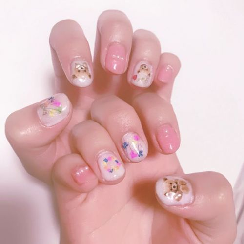 可愛さしかない♡【くまネイル】で指先から可愛い女の子に!のサムネイル画像